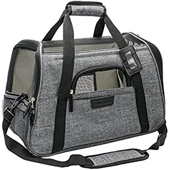 "Living Express Dog Carrier / Pet Carrier Airline Approved Travel Foldable ,Soft Sided Carrier with Fleece Puppy Bedding, Dogs Purses, (17.5""L x 10""W x 11""H, Grey)"