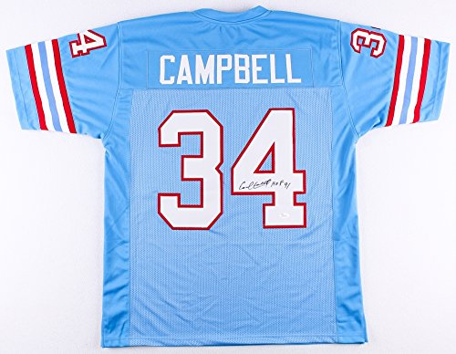 Earl Campbell Autographed Blue Houston Oilers Jersey - Hand Signed By Earl Campbell and Certified Authentic by JSA - Includes Certificate of Authenticity - Hand Signed Houston Oilers