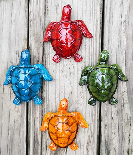GIFTME 5 Cute Sea Turtles Wall Decor Set of 4 Indoor Outdoor Resin Wall Decor Prefect Addition to Backyard,Walkways or Entrances Garden Wall -