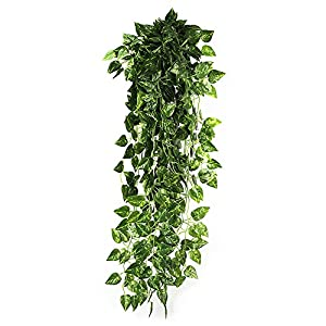 HEJIAYI Artificial Greenery Vine Leaves Garland Artificial Flowers Hanging Vine Plant Leaves for Home Garden Wall Decoration Pack of 4 21