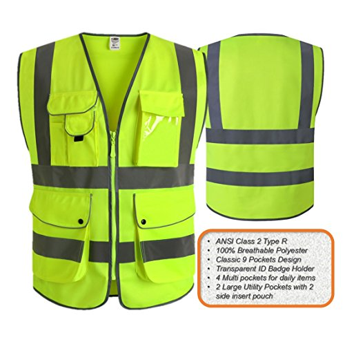 jksafety-9-pockets-class-2-high-visibility-zipper-front-safety-vest-with-reflective-strips-yellow-meets-ansiisea-standards-xx-large