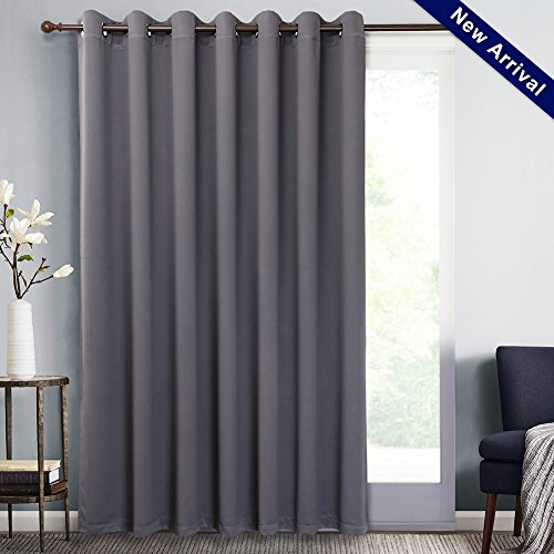 Blackout Thermal Insulated Patio Sliding Door Curtains Doorway Curtain Extra Wide Grommet Top Room Divider Window Drapery for Bedroom,Living Room, W100 X L84,Sheer Grey,1 Panel