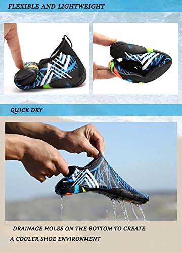 Denater Barefoot Water Aqua Socks Quick-Dry Swim Shoes For Beach Pool Diving Snorkeling Surf-16 Drainage Holes Black I63uTeP0