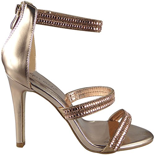 Loud Look Womens Strappy Party High Stiletto Heel Going Out Sandals 3-8 Champagne ETVpcDS