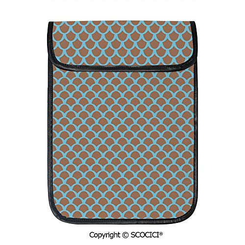 SCOCICI Simple Protective Squama Pattern with Intertwined Half Circles Aquatic Animal and Snake Scale Design Pouch Bag Sleeve Case Cover for 12.9 inches Tablets