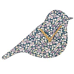 Song Bird Shaped Clock Floral Nature Wall Clock Bird Watching Ornithology Flower Garden Purple Pink White Yellow Small Medium