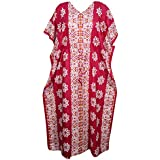 Mogul Interior Womens Caftan Kaftan Printed Lounge Cotton Maxi Dresses One Size