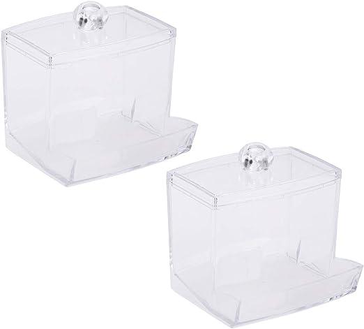 2 piezas de algodón hisopo de almacenamiento Dispensador de algodón bola Swab Holder cosméticos maquillaje almacenamiento titular con tapa (transparente): Amazon.es: Amazon.es