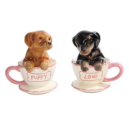 Teacup Dachshund Puppies Salt Pepper Shakers Amazon Co Uk Kitchen