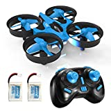 REDPAWZ H36 Mini Drone, RC Nano Quadcopter 2.4G 6 Axis with Headless Mode, 360° Flips, One Key Return, Remote Control Quadcopter Best Drone for Beginners & Kids, Kids Toys Gift -(Double Battery,Blue)