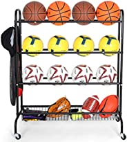 EXTCCT Basketball Rack, Rolling Basketball Shooting Training Stand,Sports Equipment Storage with Wheels, Four-