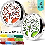 Car Aromatherapy Essential Oil Diffuser Car Air Freshener Stainless Steel Magnetic Closure Locket,2PCS Tree of Life with 50 Refill Pads