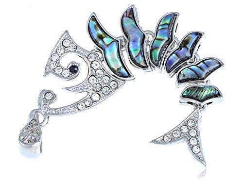 [Alilang Womens Silver Tone Clear Rhinestones Abalone Shell Fish Bone Skeleton Pendant] (Bone Shell Necklace)