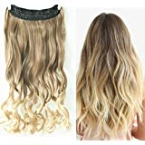 20 Inch long One Piece Clip in Hair extensions Ombre Wavy Curly (Light ash brown to sandy blonde)