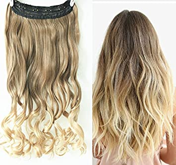 Amazon 34 full head clip in hair extensions ombre one piece 34 full head clip in hair extensions ombre one piece 2 tones wavy curly pmusecretfo Images