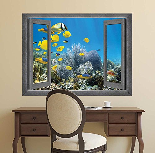 Open Window Creative Wall Decor A Swimming School of Yellow Fish Wall Mural