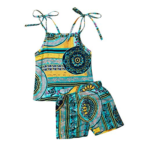 (2Pcs/Set Kids Baby Girls Jumpsuit Romper, Floral Straps Tops+Harem Pants Outfit (3-4 Years, Green) )