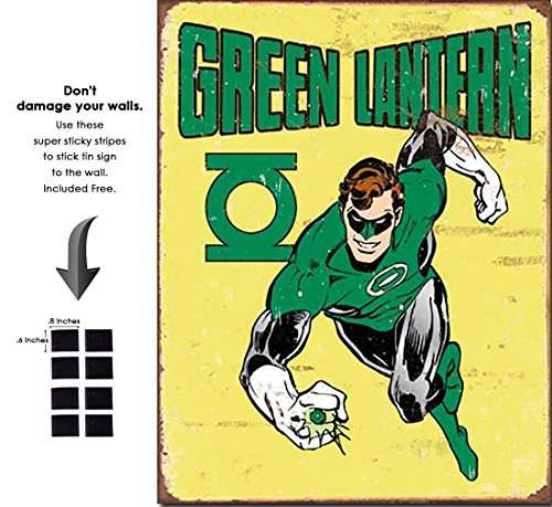 - Shop72 Tin Sign DC Comic Series Green Lantern Super Hero Metal Tin Sign Retro Vintage - with Sticky Stripes No Damage to Walls