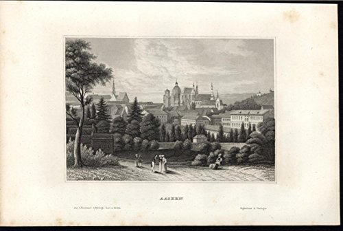 Aachen Germany Imperial Cathedral Beautiful c.1850 old vintage engraved print