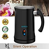 Milk Frother, SAYESO Electric Milk Steamer with Hot or Cold Functionality, Automatic Milk Frother and Warmer, Silver Stainless Steel, Foam Maker for Coffee, Cappuccino and Macchiato (Black)