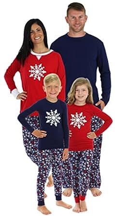 Sleepyheads Navy Snowflake Family Matching Pajama Set - Kids - Red Top (SHM-4034-K-RED-2T)