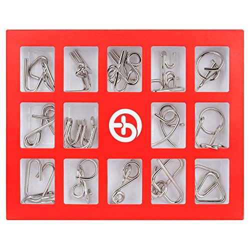 Coogam Metal Puzzles Brain Teaser Set IQ Disentanglement Toy Pack Chinese Intellectual Test Magic Trick Game Lock Iron Wire Link Unlock Ring Gift Bundle Educational for Kids Adult Challenge 15 PCS ()