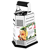 4 sided box grater - 6-Sided Box Cheese Grater - 9 Inch Stainless Steel Graters with Rubber Handle, Non Slip Rubber Bottom for Vegetable, Cheese, Ginger by THETIS Homes