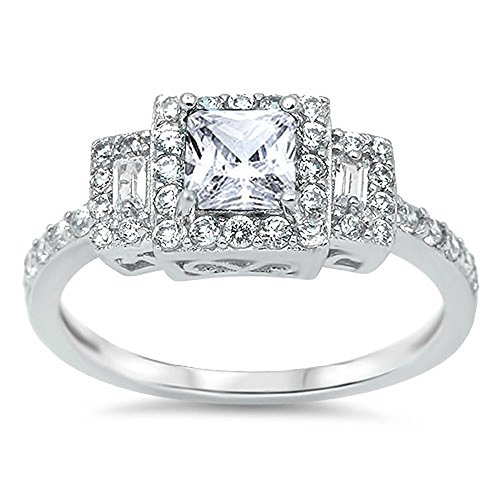 (CloseoutWarehouse Square Cubic Zirconia Three Stones Ring Sterling Silver Size 8)