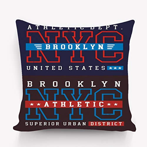 wuhandeshanbao Pillow case NYC Brooklyn Athletic Sport Typography Print Image NYC Brooklyn Athletic Sport Typography t 18 18 -