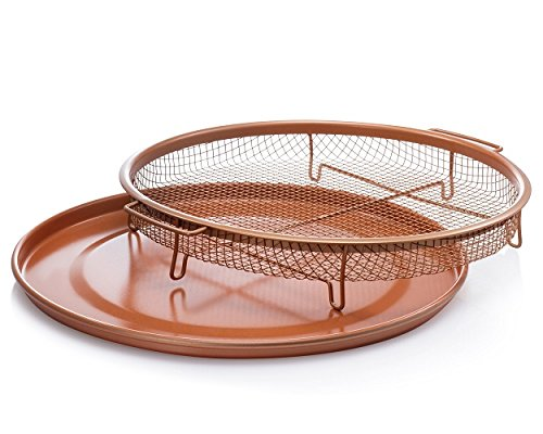 Gotham Steel Round Copper Air Fry Crisper Tray, Pizza & Baking Pan, 2 Piece (Round Copper Tray)
