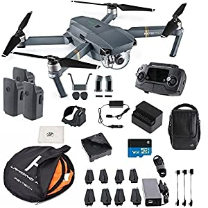 DJI Mavic Pro Fly More Combo Collapsible Quadcopter Safety Bundle: 3 Batteries, Landing Pad, Charging Hub and More from DJI