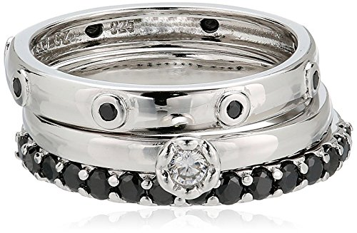 Sterling Silver Triple Stack Ring (Sterling Silver Black and White Cubic Zirconia Stacking Rings (3 Piece Set))