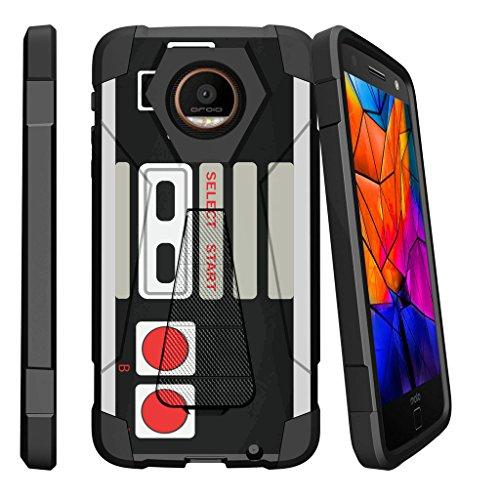 [해외]모토로라 모토 Z2 플레이를 위한 MINITURTLE 케이스 호환 | Moto Z2 포스 [XT1710] 2017 슬림 쉘 [쇼크 퓨전] 스탠드 쉘 세련 된 범퍼 쉘 레트로 컨트롤러 / MINITURTLE Case Compatible w Case for Motorola Moto Z2 Play | Moto Z2 Force [XT1710]...