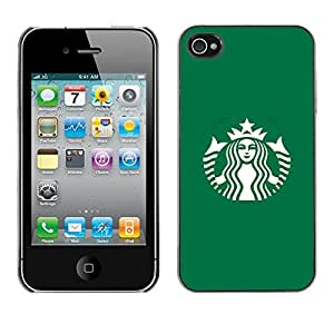 X-ray Impreso colorido protector duro espalda Funda piel de Shell para Apple iPhone 4 / iPhone 4S / 4S - Coffee Shop Green Brand