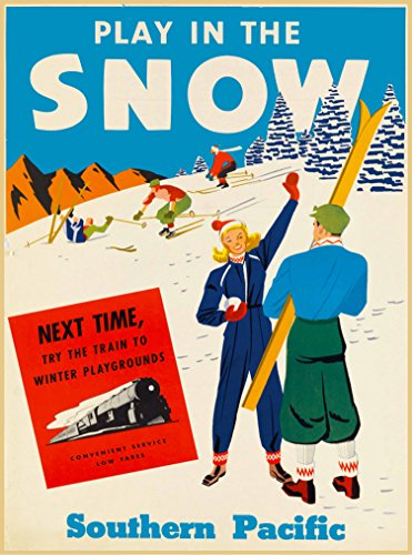 Play in the Snow Southern Pacific Colorado Utah Idaho California Ski Skiing Vintage Railroad United States of America Travel Advertisement Art Poster Print. Poster measures 10 x 13.5 inches