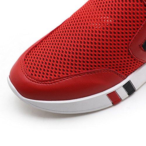 AllhqFashion Damen Gemischte Farbe Weiches Material Mittler Absatz Ziehen auf Rund Zehe Pumps Schuhe Rot