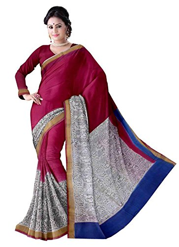 03dbebe8404e88 Glitters Women s Half And Half Printed Kerala Cotton With Blouse Piece Saree  In Pink   White Color  Amazon.in  Clothing   Accessories