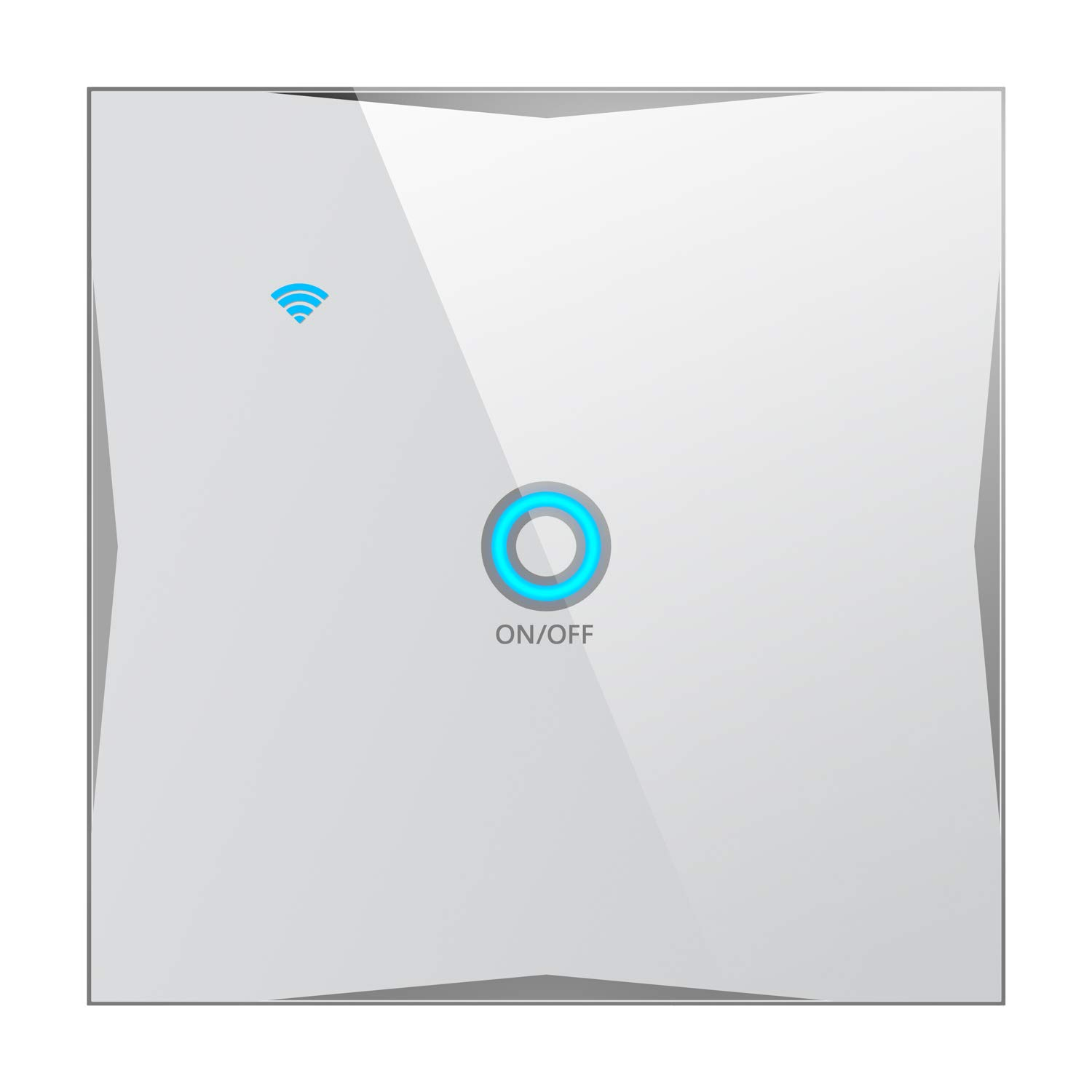 WiFi Smart Wall Light Switch, Compatible with Amazon Alexa, Google Home,  IFTTT, App and Voice Control, Touch Tempered Glass Panel, No hub Required