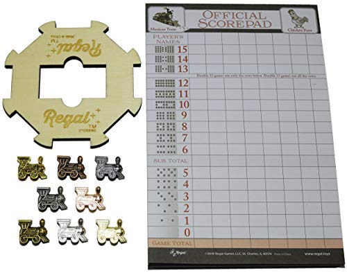 - Regal Games Mexican Train Domino Expansion Set - 8 Metal Marker Trains with Unique Finishes - Replacement Wooden Hub - Scoresheet