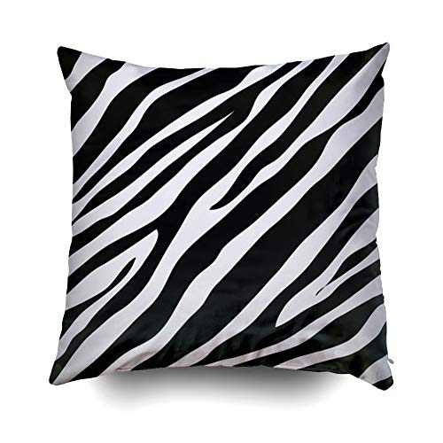(ROOLAYS Decorative Throw Square Pillow Case Cover 20X20Inch,Cotton Cushion Covers Zebra Animal Print Pattern Image Illustration Both Sides Printing Invisible Zipper Home Sofa Decor Pillowcase)