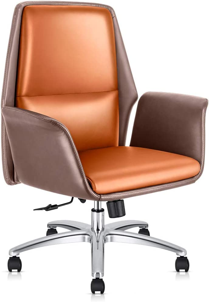 Office Chair Adjustable Managerial Home Desk Chair,Swivel Computer Leather Chair with Lumbar Support (Brown)