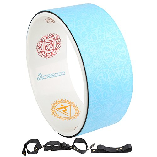A-Flower Yoga Wheel Prop Exercise Wheel 13 x 5 Inch for Stretching Deeper with Strap