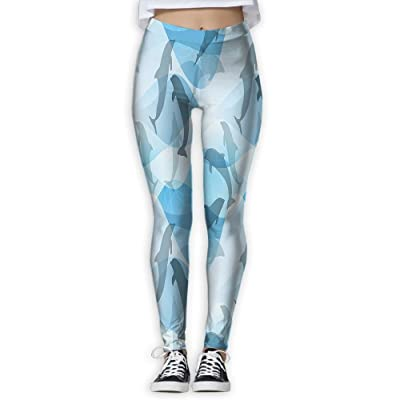 XINSHOU Women's Dolphin Pattern Silhouette Under The Sea Waves Contemporary Yoga Workout