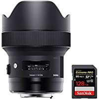 Sigma 14mm F1.8 DG HSM Art Wide Angle Full Frame Lens for Canon (450954) + Sandisk Extreme PRO SDXC 128GB UHS-1 Memory Card