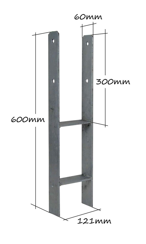 H-Anker 5,0-5,5mm feuerverzinkt 600mm 71//91//101//141 Pfostentr/äger Pfostenanker Zaun caport 8, 71mm//600mm