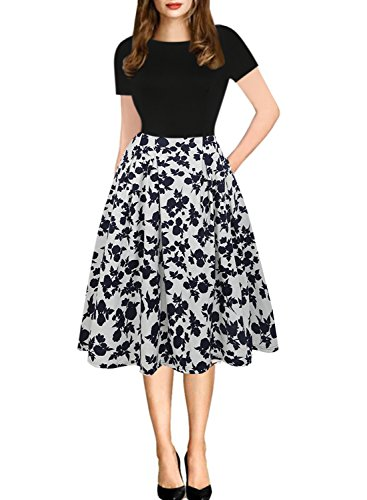 (oxiuly Women's Vintage Scoop Neck Floral Pockets Casual Work Swing Dress OX165 (L, Black White))