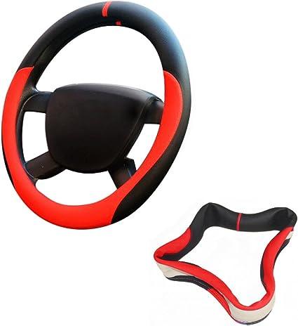 XFAY Couvre-Volant de Voiture en Cuir Synth/étique Classique Antid/éparant Couverture de Volant 36cm Rouge + Noir