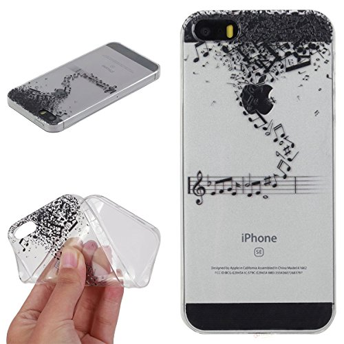 Beiuns Custodia in TPU per Apple iPhone 5 5G 5S / iPhone SE (4 pollici) silicone morbido cover - HX521 Musica