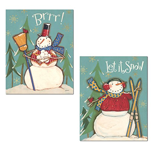 Festive Brrr. and Let It Snow Snowman Set; Holiday Decor by Anne Tavoletti; Two 11x14in Poster Prints