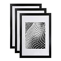 Lot de 3 Cadres photos Noir A4 (21x29.7 cm) - Cadre photo en résine avec vitre en verre de protection - Livré avec pied chevalet et crochets pour fixation au mur. Idéal pour photo, diplômes, publicité....